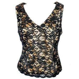 CACHE'  | Sexy Lace & Gold Satin V Neck Top Small